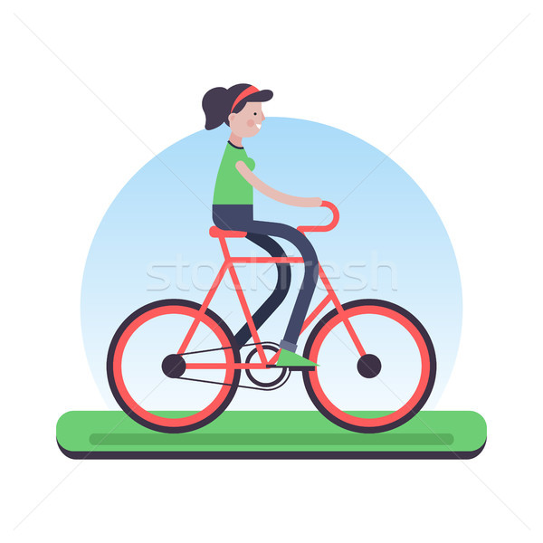 Stock photo: Woman riding bicycle outdoor for environment help