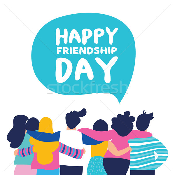 Felice amicizia giorno carta amico gruppo Foto d'archivio © cienpies