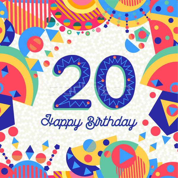 Venti 20 anno compleanno biglietto d'auguri numero Foto d'archivio © cienpies