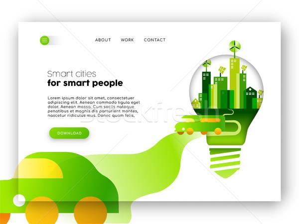 Eco friendly city web landing page template  Stock photo © cienpies