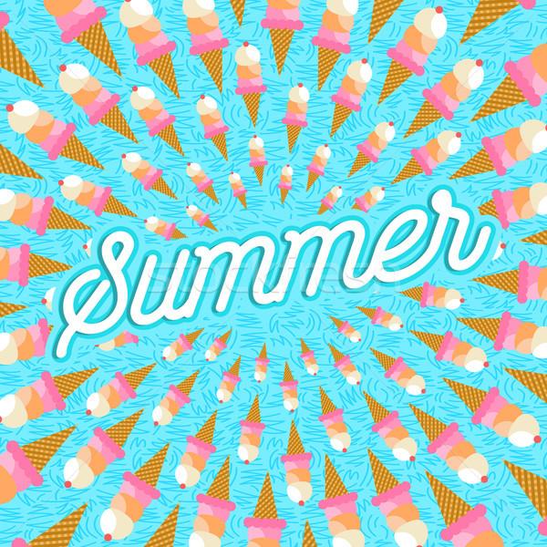Summer vacation greeting card of ice cream food Stock photo © cienpies