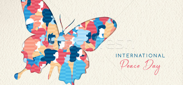 World Peace Day banner cutout for people unity Stock photo © cienpies