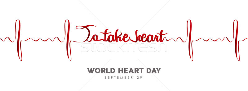 World Heart Day banner of red heartbeat line Stock photo © cienpies