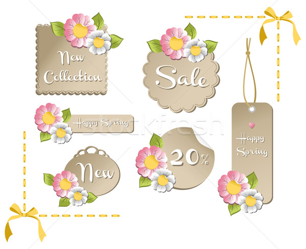 Happy spring sale tag collection Stock photo © cienpies