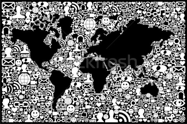 ソーシャルメディア ネットワーク アイコン 地球 地図 ストックフォト © cienpies
