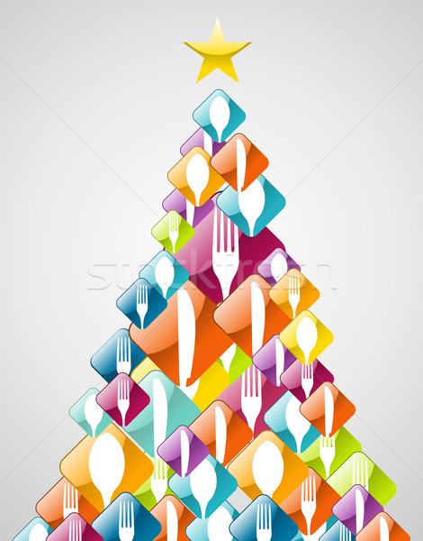 Argenterie Noël arbre de pin carte de vœux Photo stock © cienpies