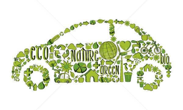 Isolated green ecocar environmental icons Stock photo © cienpies