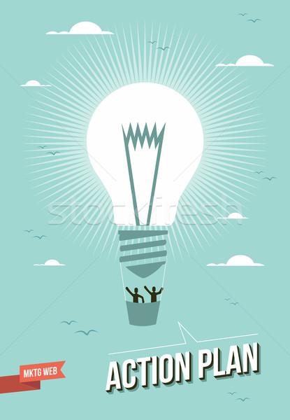 マーケティング ウェブ アクション 計画 電球 実例 ストックフォト © cienpies