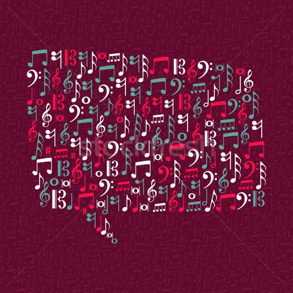 Hangjegyek szövegbuborék illusztráció közösségi média buborék forma Stock fotó © cienpies