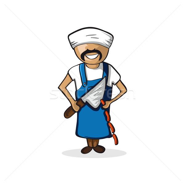 Profession butcher man cartoon figure. Stock photo © cienpies