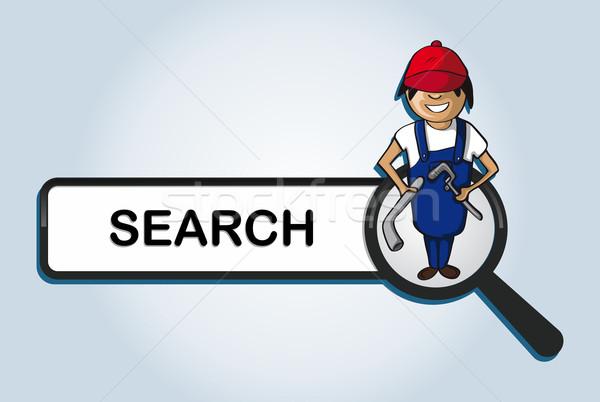 Ouvrir la recherche plombier garçon cartoon ligne Photo stock © cienpies