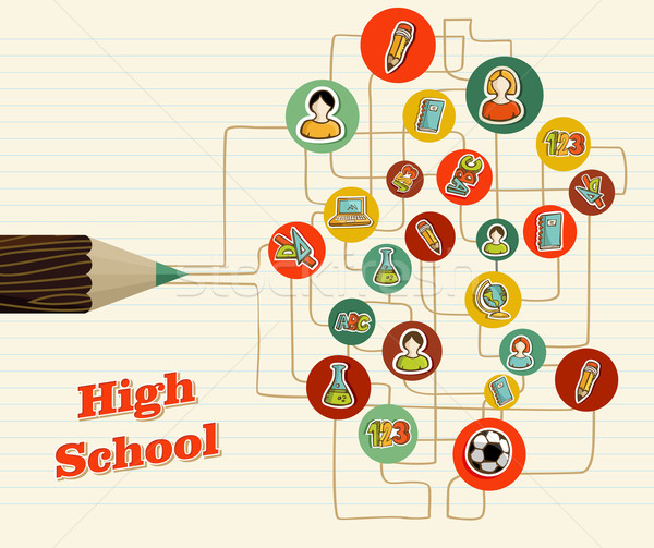 Back to school icons education pencil. Stock photo © cienpies