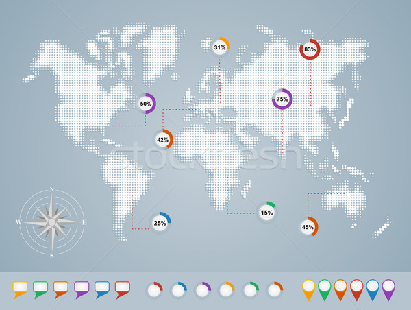 World map, geo infographics template EPS10 file. Stock photo © cienpies