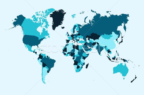 世界地図 青 国 実例 eps10 ベクトル ストックフォト © cienpies