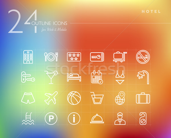 Hotel outline icons set  Stock photo © cienpies