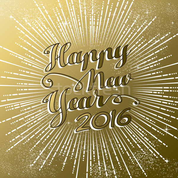 Happy New Year 2016 gold greeting card firework Stock photo © cienpies