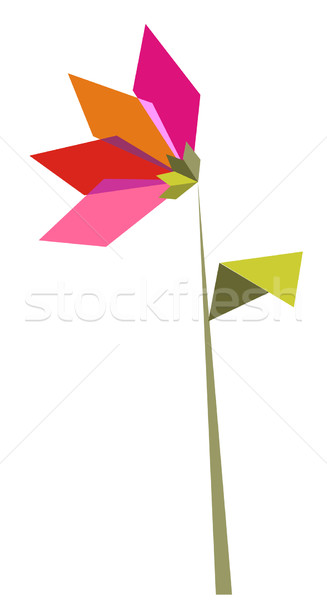 One Origami vibrant colors flower. Stock photo © cienpies