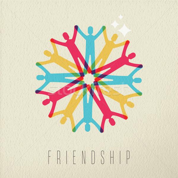友誼 多樣 人 顏色 設計 組 商業照片 © cienpies