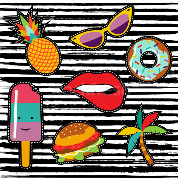 Set of cute summer cartoon stickers or patches Stock photo © cienpies