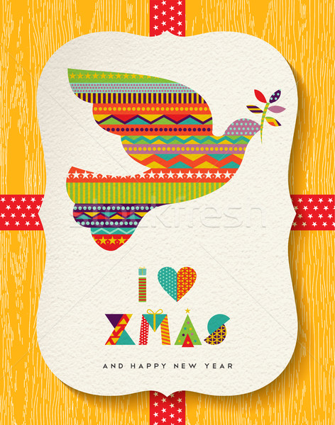 Christmas and new year colorful dove card design Stock photo © cienpies