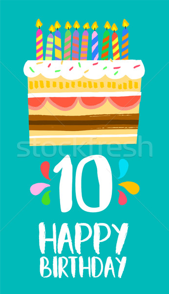 Happy Birthday cake card for 10 ten year party Stock photo © cienpies