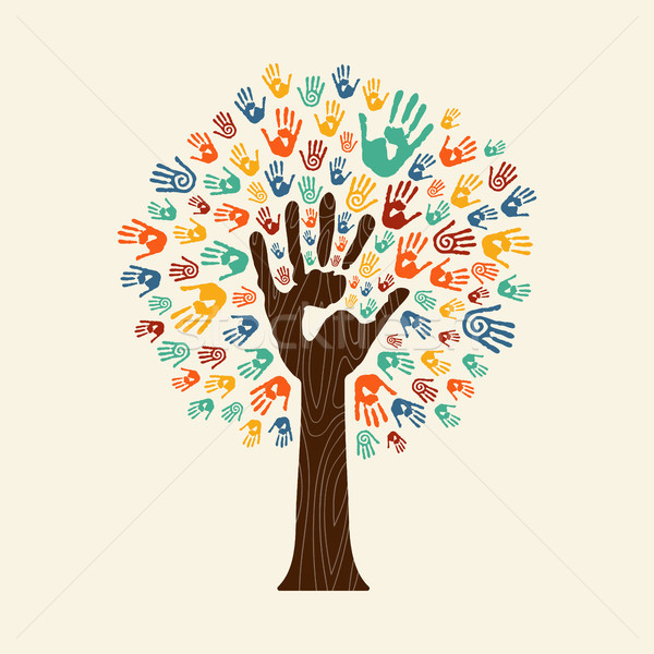 Hand print tree of diverse community team Stock photo © cienpies