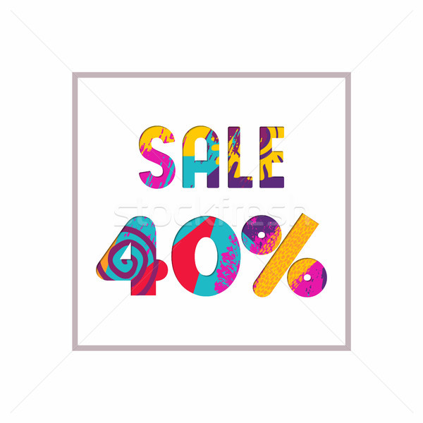 Stock photo: Sale 40% off color quote for business discount