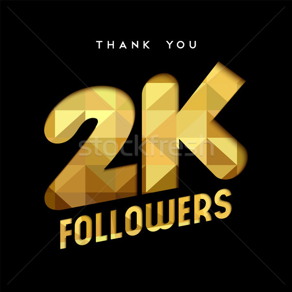2k gold internet follower number thank you card Stock photo © cienpies