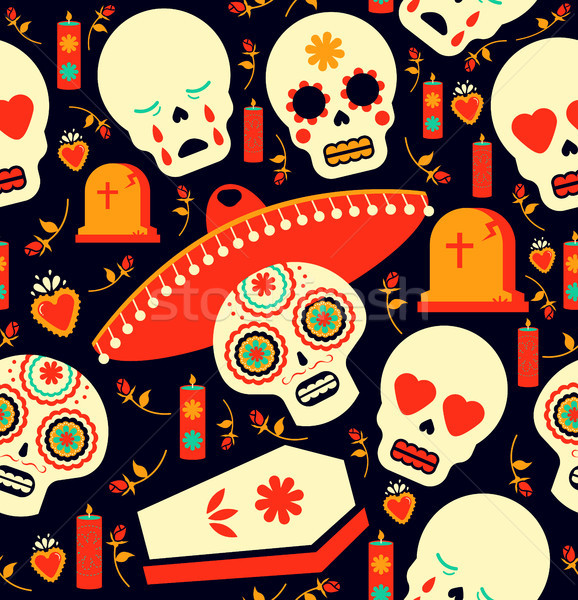 Day of the dead mariachi skull emoji background Stock photo © cienpies