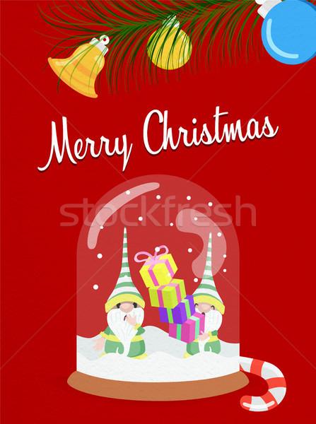 Merry Christmas fun snow globe elf greeting card Stock photo © cienpies