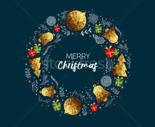 Merry Christmas gold low poly luxury greeting card Stock photo © cienpies