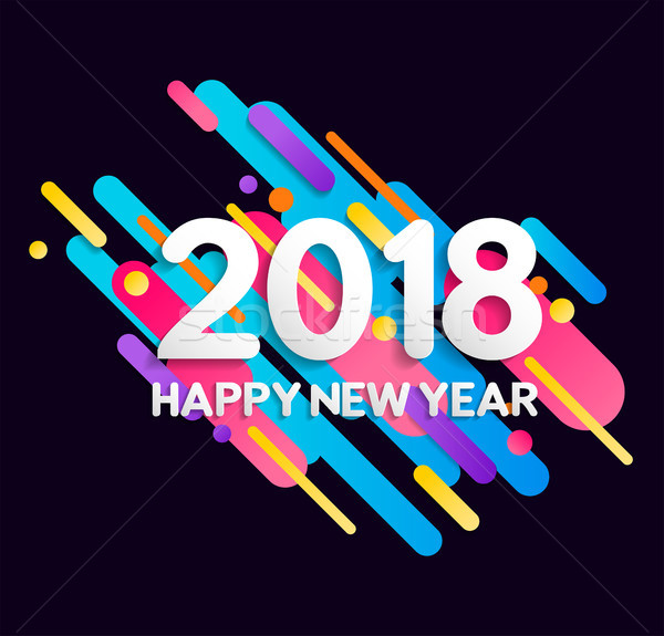 Happy New Year 2018 color gradient decoration card Stock photo © cienpies