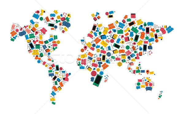 Sosyal medya ağ dünya haritası ikon biçim renkli Stok fotoğraf © cienpies