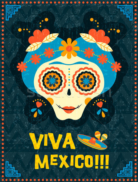 Day of the dead poster of mexican skull woman Stock photo © cienpies