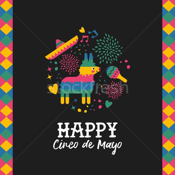 Happy cinco de mayo cute mexican pinata card Stock photo © cienpies