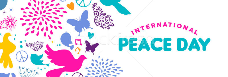 World Peace Day web banner of dove bird icons Stock photo © cienpies