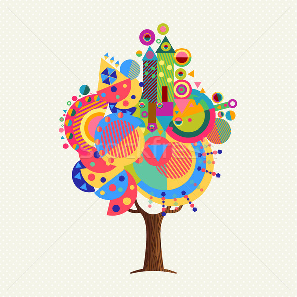 Colorful tree concept with fun geometric shapes Stock photo © cienpies