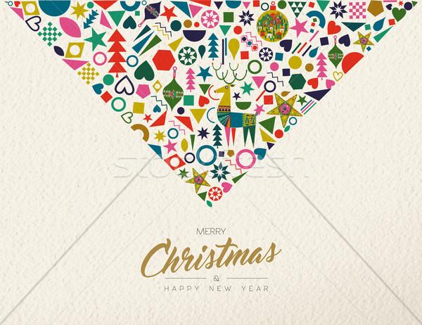 Christmas and New Year retro folk art decoration Stock photo © cienpies