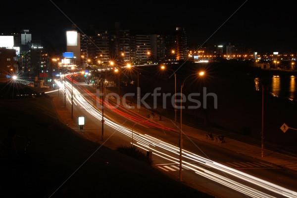 Voitures promenade nuit vue lumières Photo stock © cienpies