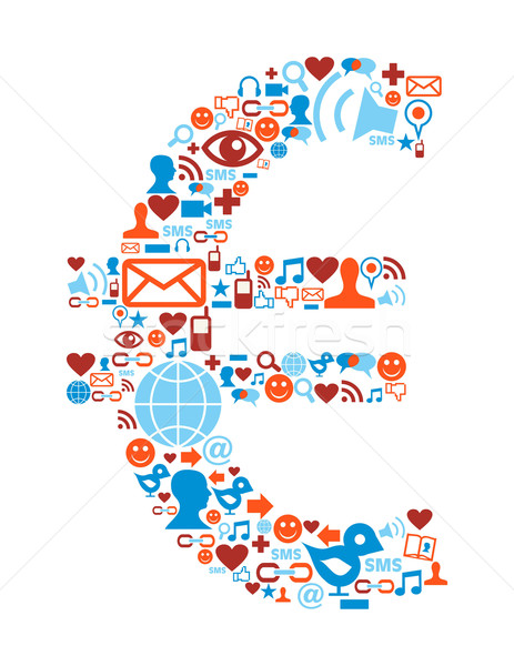 Social media icons set in euro symbol Stock photo © cienpies