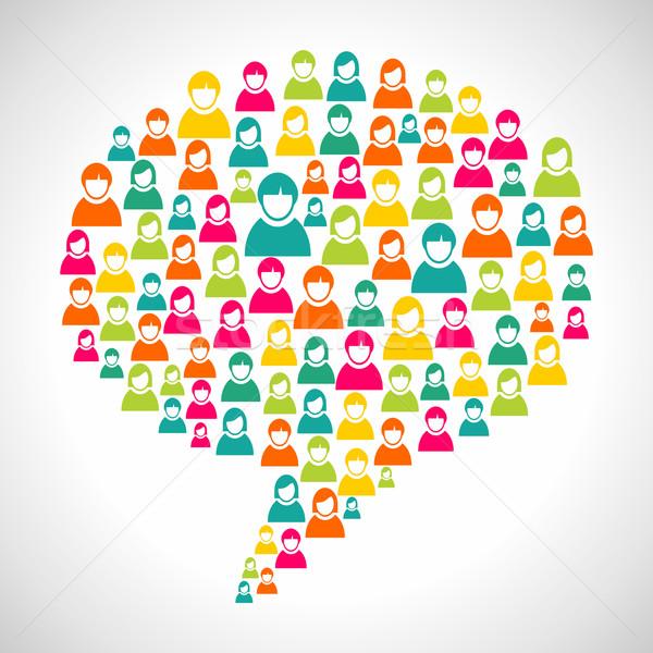 Diversidade pessoas balão de fala perfil social Foto stock © cienpies