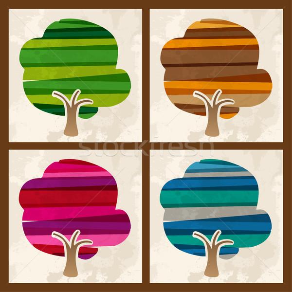 Four season multicolor tree set Stock photo © cienpies