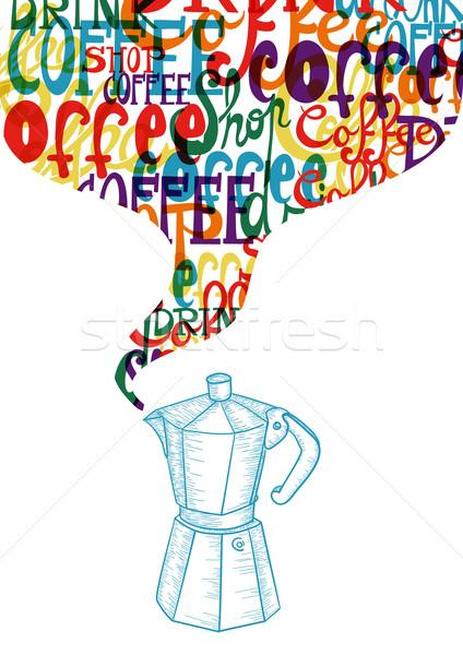 Vintage кофе икона социальной модный красочный Сток-фото © cienpies