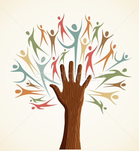 Stock photo: Diversity human hand tree set