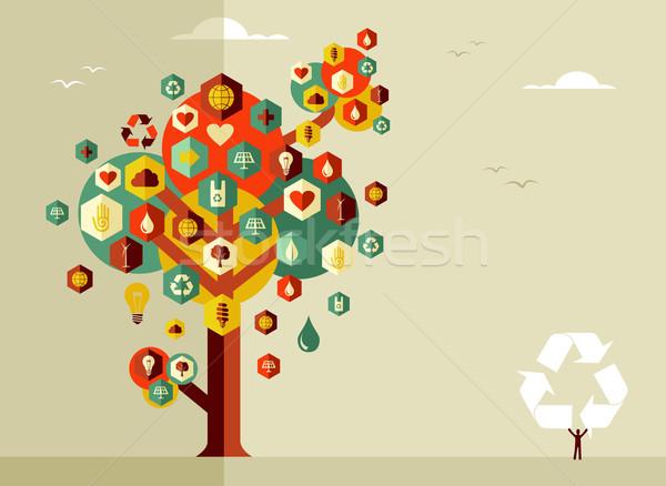 Durable vie arbre icônes vecteur fichier Photo stock © cienpies