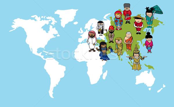 Asian mensen cartoons wereldkaart diversiteit illustratie Stockfoto © cienpies