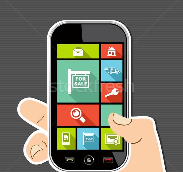 人の手 携帯 カラフル 不動産 ui アプリ ストックフォト © cienpies