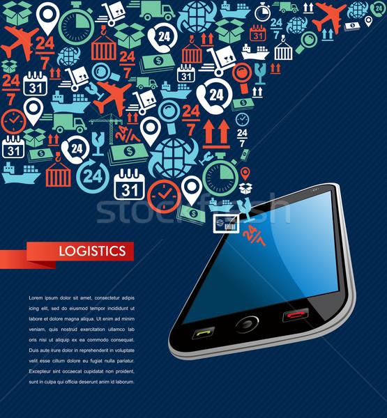 Shipping logistics app mobile text icons splash illustration. Stock photo © cienpies