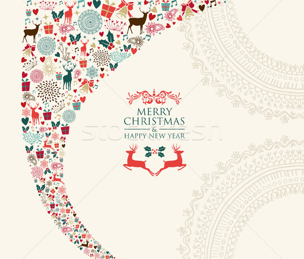 Merry Christmas vintage elements composition  Stock photo © cienpies