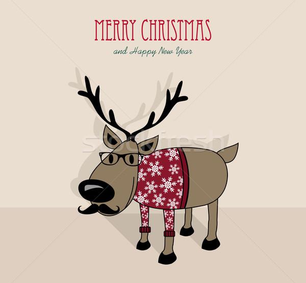 Stockfoto: Vrolijk · christmas · gelukkig · nieuwjaar · rendier · retro